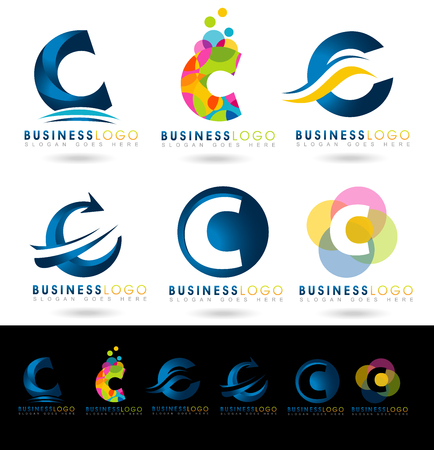 Letter C Logo Designs. Creative abstract vector letter C icons with blue and orange colors.