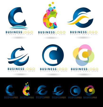 Letter C Logo Design. Creative abstract vector letter C iconen met blauwe en oranje kleuren.