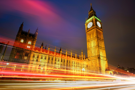 busses: London at Night with Big Ben and light trails.