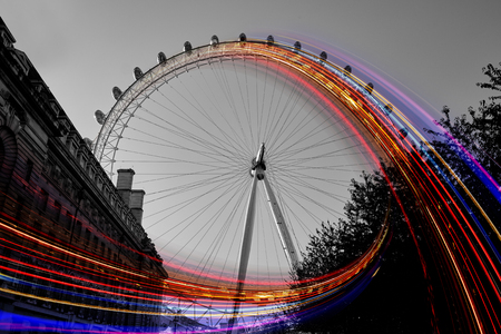London Eye  with rotation lights effect Editorial