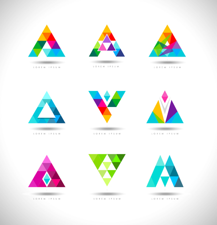 Geometric Triangles Logo Design. Vector logo with triangle creative concept. Vettoriali