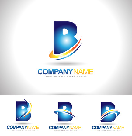 Letter B Logo Designs. Creative abstract vector letter B icons with blue orange and green colors. Logo
