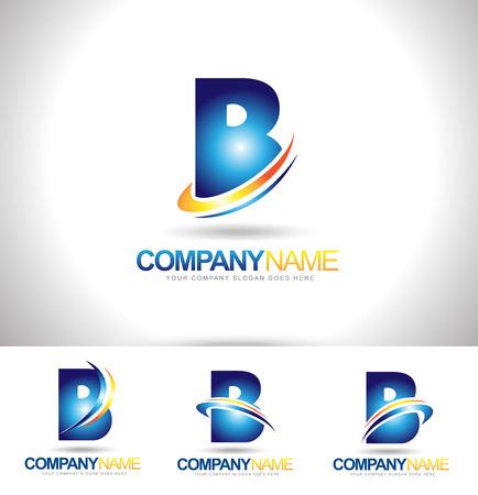 Lettre B Logo Designs. Creative abstraites lettre de vecteur B icônes à l'orange bleu et vert.