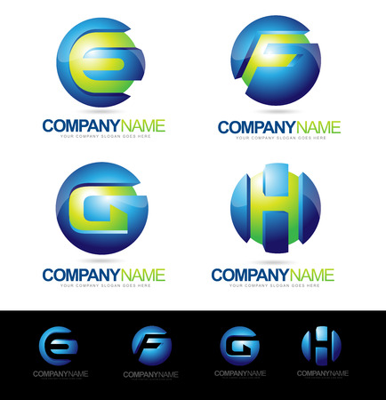 advertising logo: Letter Logo Designs. Creative abstract vector letter E F G H icons with blue and green colors.