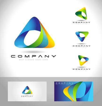 triangulo: Triángulo de diseño de la insignia. Abstracto creativo logo icono de triángulo y la plantilla de tarjeta de visita. Vectores