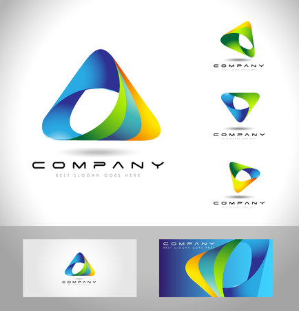 Triangle Logo Design. Creative abstract triangle icon logo and business card template. Vettoriali