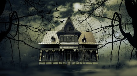 spooky eyes: Haunted house with dark scary horror atmosphere