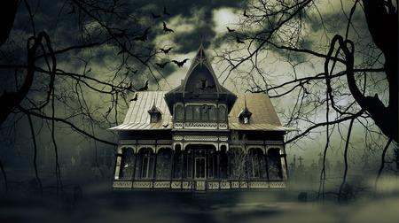 Maison hantée avec une atmosphère d'horreur sombre effrayant Banque d'images - 50644275