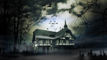 Maison hantée avec une atmosphère d'horreur sombre effrayant