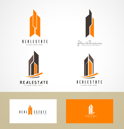 roof construction: Real Estate Design. Creative abstract real estate icon and business card template.