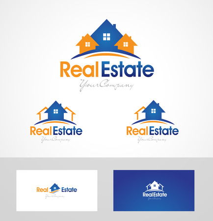 Real Estate Design. Creative abstract real estate icon and business card template.