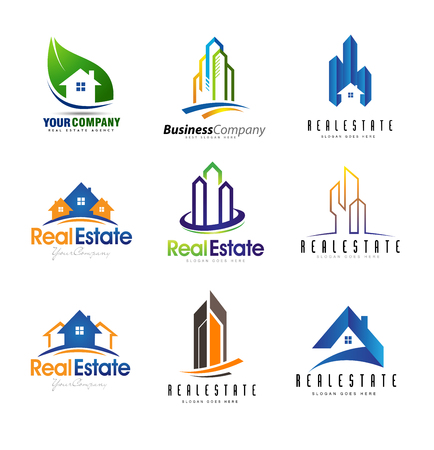 construction companies: Real Estate Design Set. Creative abstract real estate icons.