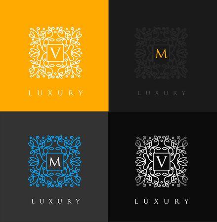 luxo: Carta de luxo. design floral simples e elegante, design de luxo lineart elegante Ilustração