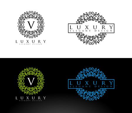 Luxury Letter . Simple and elegant floral design , Elegant lineart luxury vector  design Reklamní fotografie
