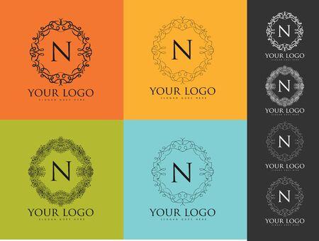 luxo: Logo carta. design floral simples e elegante logotipo, lineart elegante design de logotipo vector de luxo