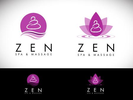 Spa Logotipo del salón Design.Massage diseño del logotipo del salón. Creativa zen del balneario del vector con los colores púrpura.