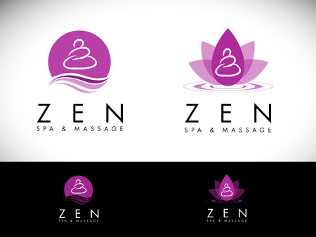 Spa Salon Logo Design.Massage salon logo design. Creative Spa Zen Stones Vector with purple colors. Illustration