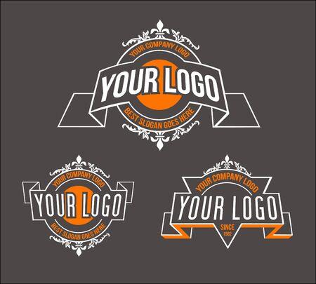 art logo: Vintage Retro Logo. Simple and elegant vintage design logo, Elegant linear luxury vector logo design Illustration