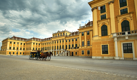 Palace Schunbrunn Vienna, Austria with carriage and horses Editorial