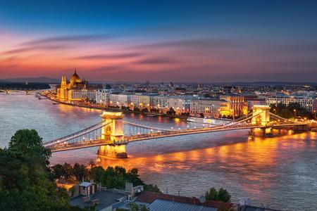 night dusk: Budapest Hungary, Sunset Panorama of Budapest Stock Photo