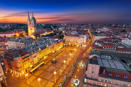 Zagreb Croatia at Night. Aerial View from above of Ban Jelacic Square 스톡 콘텐츠