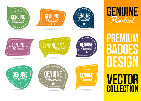 genuine: Genuine Product Badge and Emblem in Flat Design Style Illustration