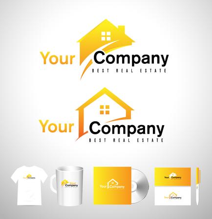 不動産ハウスのロゴ。不動産のアイコン。住宅不動産のベクトルのロゴ  イラスト・ベクター素材