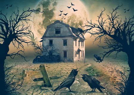 Haunted House with Dark Horror Atmosphere. Haunted Scene House.