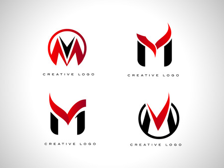 Letter m Logo with red and black colors. Letter M Icon Set.
