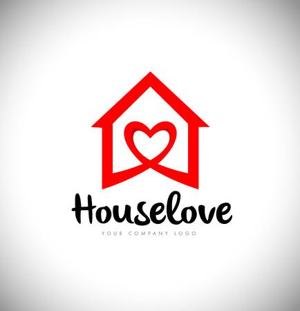 Huislogo met Liefdesymbool en Rode Kleur. Creative House Logo met hart liefde pictogram.