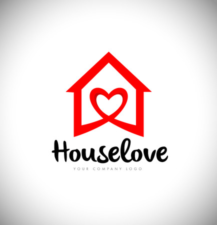 House logo with Love Symbol and Red Color. Creative House Logo with heart love icon. Illustration