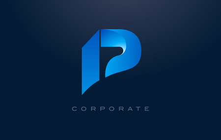 Letter P Logo. P Letter Design Vector with Blue Colors and Flat Design.