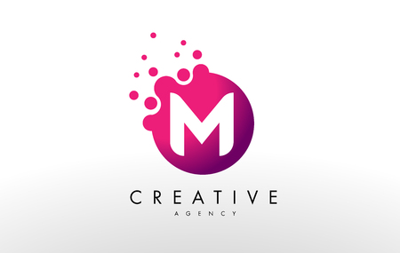 Dots Letter M Logo. M Letter Design Vector with Dots. Ilustracja
