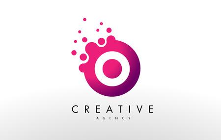 ドット文字の O のロゴ。O ドット デザインのベクトルの手紙します。  イラスト・ベクター素材