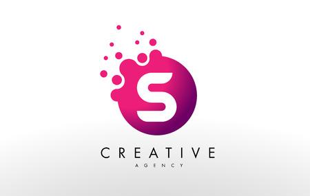 Dots Letter S Logo. S lettera disegno vettoriale con punti.