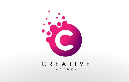 Dots Lettre C Logo. C Lettre Vector Design avec des points.