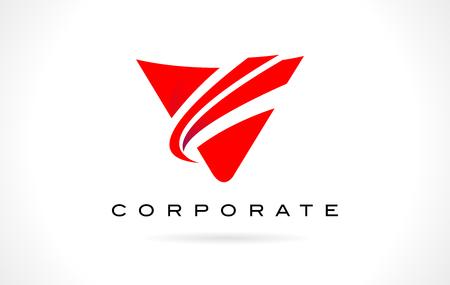 V Logo Red. Letter V Design with Red Swash.
