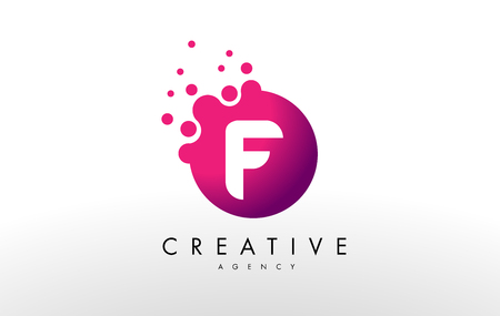 Dots Letter F Logo. F Letter Design Vector with Dots. Иллюстрация