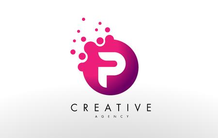 Kropki Litera P Logo. Litera P wektora projektu z kropkami.
