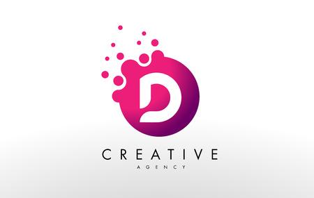 ドット文字 D ロゴ。D ドット文字のデザインのベクトル。 写真素材 - 70808434