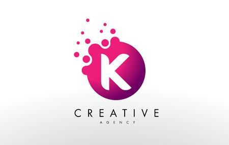 ドット文字 K ロゴ。K ドット文字のデザインのベクトル。