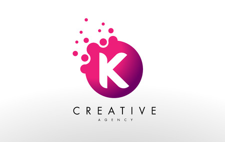 letter: Dots Letter K Logo. K  Letter Design Vector with Dots.