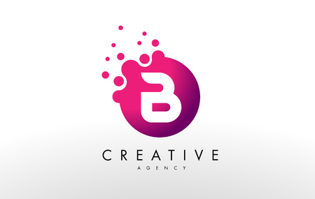 Dots Letter B Logo. B Letter Design Vector with Dots.
