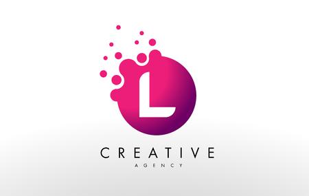 Dots Letter L Logo. L  Letter Design Vector with Dots.