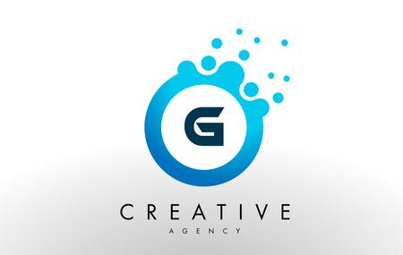 g ドット文字ロゴ。青いバブル デザイン ベクトル イラスト。  イラスト・ベクター素材