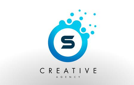 s Dots Letter Logo. Blue Bubble Design Vector Illustration. Ilustracja
