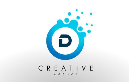D Dots Letter Blue Bubble Design Vector Illustration