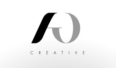 A O Letter Logo Design. Creative Modern AO Letters Icon Illustration. Ilustração