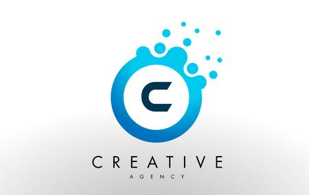 c Dots Letter Logo. Blue Bubble Design Vector Illustration.