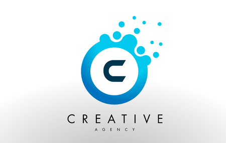 c Dots Letter Logo. Blue Bubble ontwerp vectorillustratie. Stock Illustratie